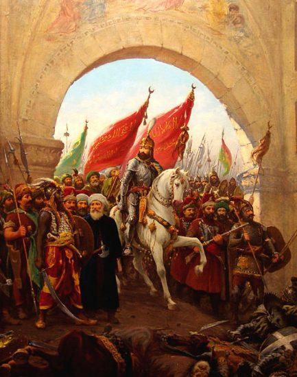 Fatih'in İstanbul'a girişi. Fausto Zonaro'nun eseri. II. Mehmed'in Constantinople'a Girişi İsimli Tablosu-The_Entry_of_Mahomet_II_into_Constantinople-1876