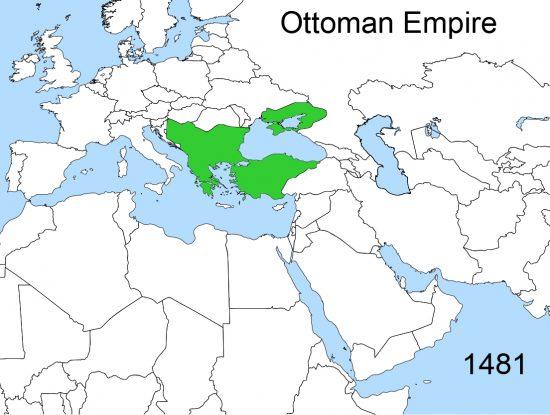 2. Mehmed vefat ettiğinde Osmanlı sınırları(1481)