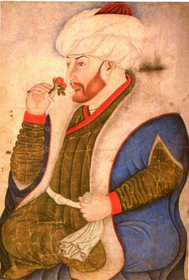 II. Mehmed'i gül koklarken tasvir eden minyatür. Nakkaş Sinan Bey'in eseridir TOPKAPI Sarayi_Albumu