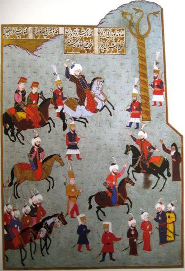 ii-mehmedin-edirnede-culus-toreni1451-minyaturu-mehmed-ii-ve-yilanli-sutun-hunername-16-yy-osmanli-imparatorlugu-fatih-sultan-2-mehmed-han-kimdir