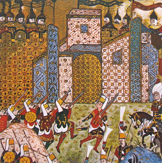 Rodosun-fethini-gösteren-bir-minyatür.-Fethullah-Çelebi-Arifi-historian-poet-and-painter-Matrakçı-Nasuh