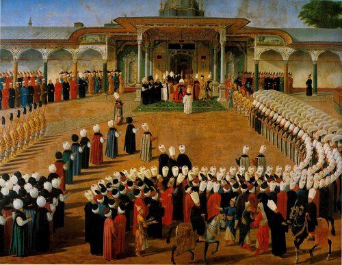 Sultan 3. Selim sarayda. 20. İslam halifesi ve 31. Osmanlı padişahı. Babası Sultan 3. Mustafa, Annesi Mihr-i Şah. Osmanoğulları soyu