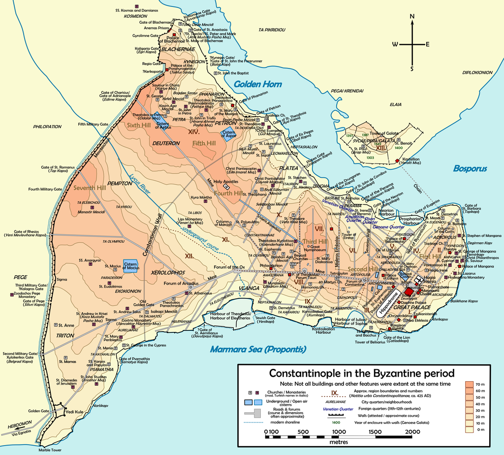 STANBUL FETHİ. İstanbulun Limanı Haritası Ve Onun Surları. Byzantine Constantinople E
