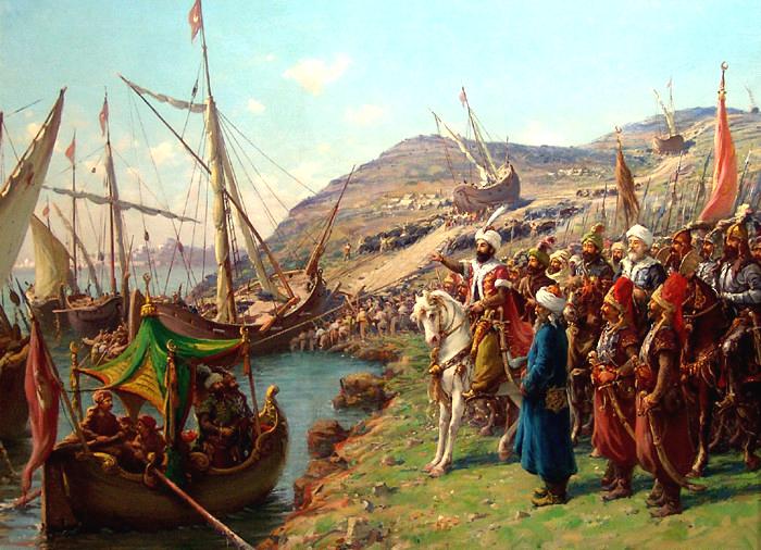 Fatihin Donanmaya Emri Ve Gemilerin Karadan Yürütülmesi. Fausto Zonaronun Eseri