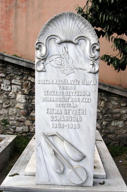 Fatma Gevheri Osmanoglu Mezarı 1904 1980 Bestekar Ve Müzisyen Baba Kız Şehzade Mehmet Seyfettin Efendi Ve Kızı Fatma Cevheri Sultan Osmanoğlu