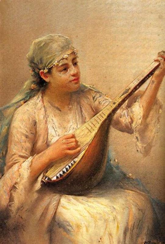 Haremde Bağlama Saz Müzik Enstrümanı Çalan Güzel Cariye Kızı. Osmanlı İmparatorluğu Türk Haremleri Kadın Efendi Gözde İkbal Kadını Hanımı Kızları Kız