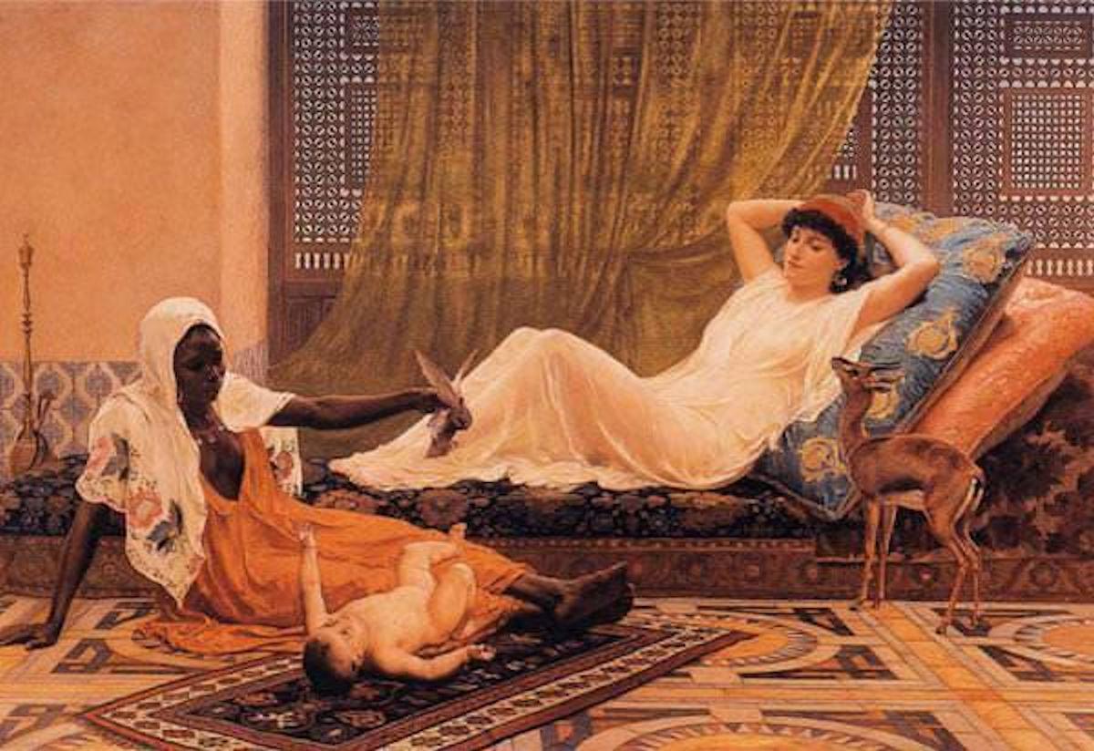 Haremde Dinlenen Türk Kadınları Kızı Yağlı Boya Tablosu. Osmanlılar Padişahı Sultanları Saray Haremi Ailesi Eşleri Gözdesi Osmanlılar Saray Sultanları Bilgi