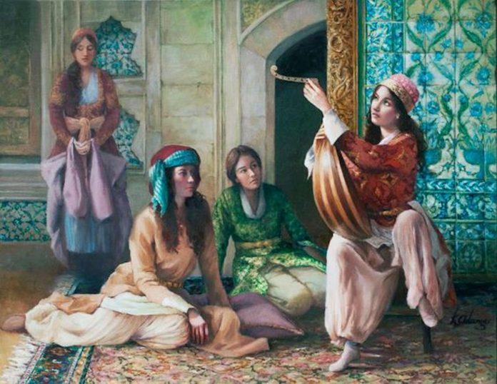 Haremde Müzik Aleti Ud Sazı Çalan Kadın.Osmanlı Musikiler Müzikleri Ne Demek. Osmanlılar Saray Sultanı Nedir. Bilgileri Kimdir