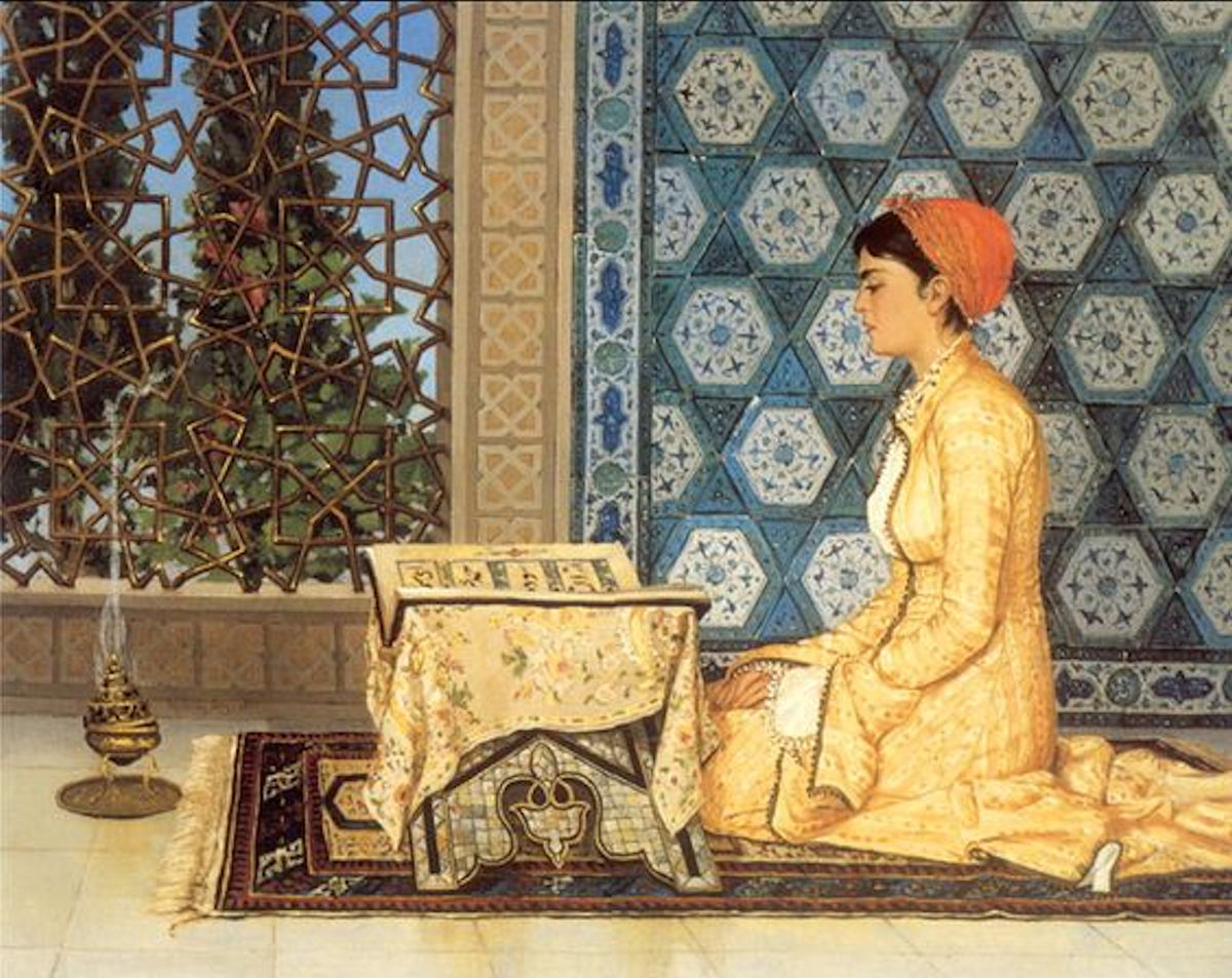 Haremde Okuyan Türk Kızı Yağlı Boya Tablosu.Osmanlılar Harem Nedir. Ottomano Sultani Resimleri Padişahı Sultanları Saray Haremi Ailesi Eşleri Gözde İkbal Kadını