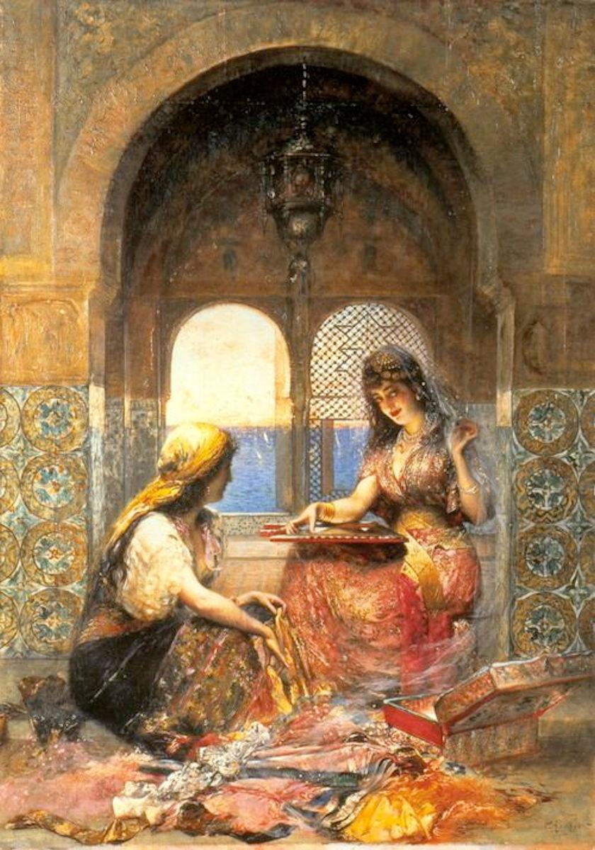 Haremde Türk Kızı Yağlı Boya Tablosu Güzel Cariye Kızlar Kadınları.Osmanlılar Padişahı Sultanları Saray Haremi Ailesi Eşleri Gözde İkbal Kadını Hanımı Kızları
