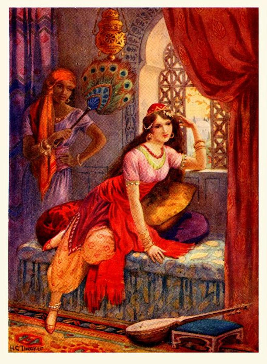 Haremde Türk Kızı Yağlı Boya Tablosu.Osmanlılar Padişahı Sultanları Saray Haremi Ailesi Eşleri Gözde İkbal Kadını Hanımı Kızları Kız Hünkar SarayıValide Sultanı Hanım Sultan