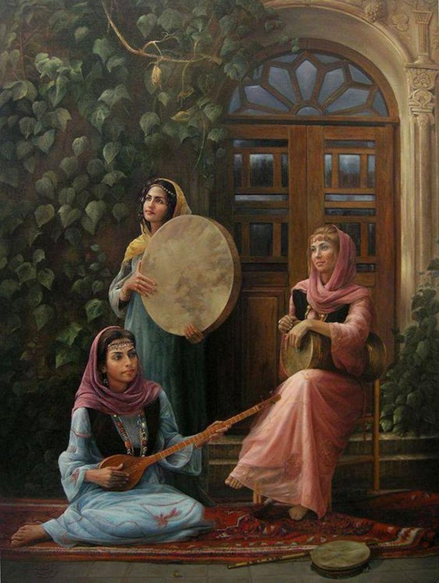 Osmanlı Devleti Musiki. Ottoman Harem Resimleri. Müzik Enstrüman Çalgıları. Sarayda Çalma Tarihi Yağlı Boya Tablolar ı Sultan Eşleri Gözdesi Ikbali Kadınları