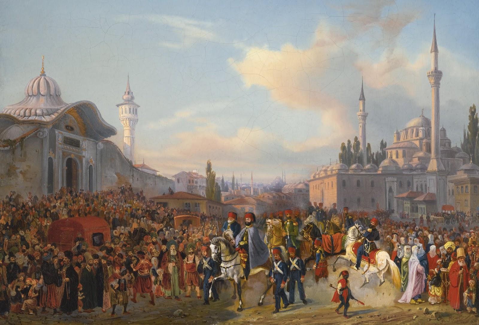 Sultan 2. Mahmud Hân Bayezid Câmi I Şerîfinden çıkarken. Ottomano Empire