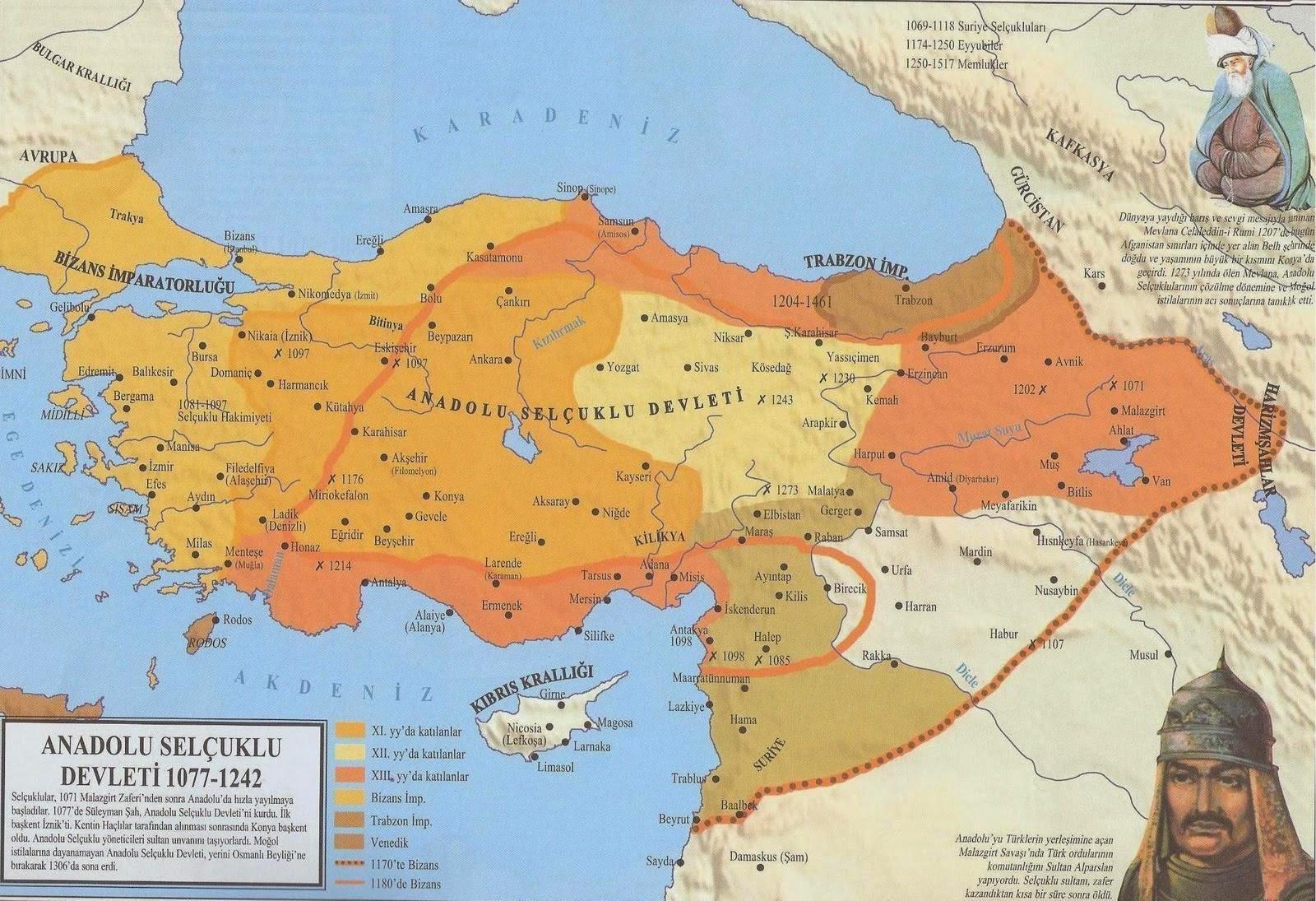 Türkiye Selçuklu Devleti Türkiye Selçukluları Türk Devletleri Anadolu Selcuklu Devleti Tarihi Haritası