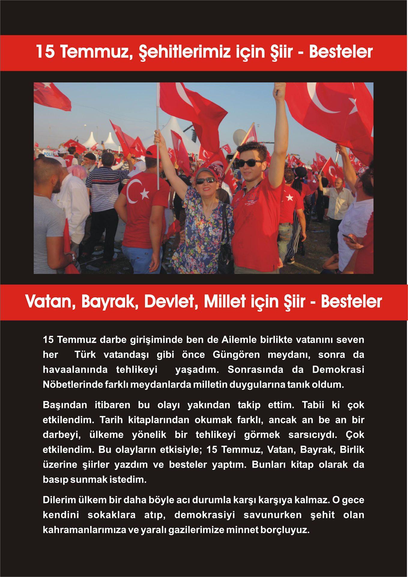 ARKA KAPAK 15 Temmuz Vatan Ve Bayrak Şiirleri Şarkı Ağıt Türkü Besteler Yeni Nota Kitabı Bugün Basıldı